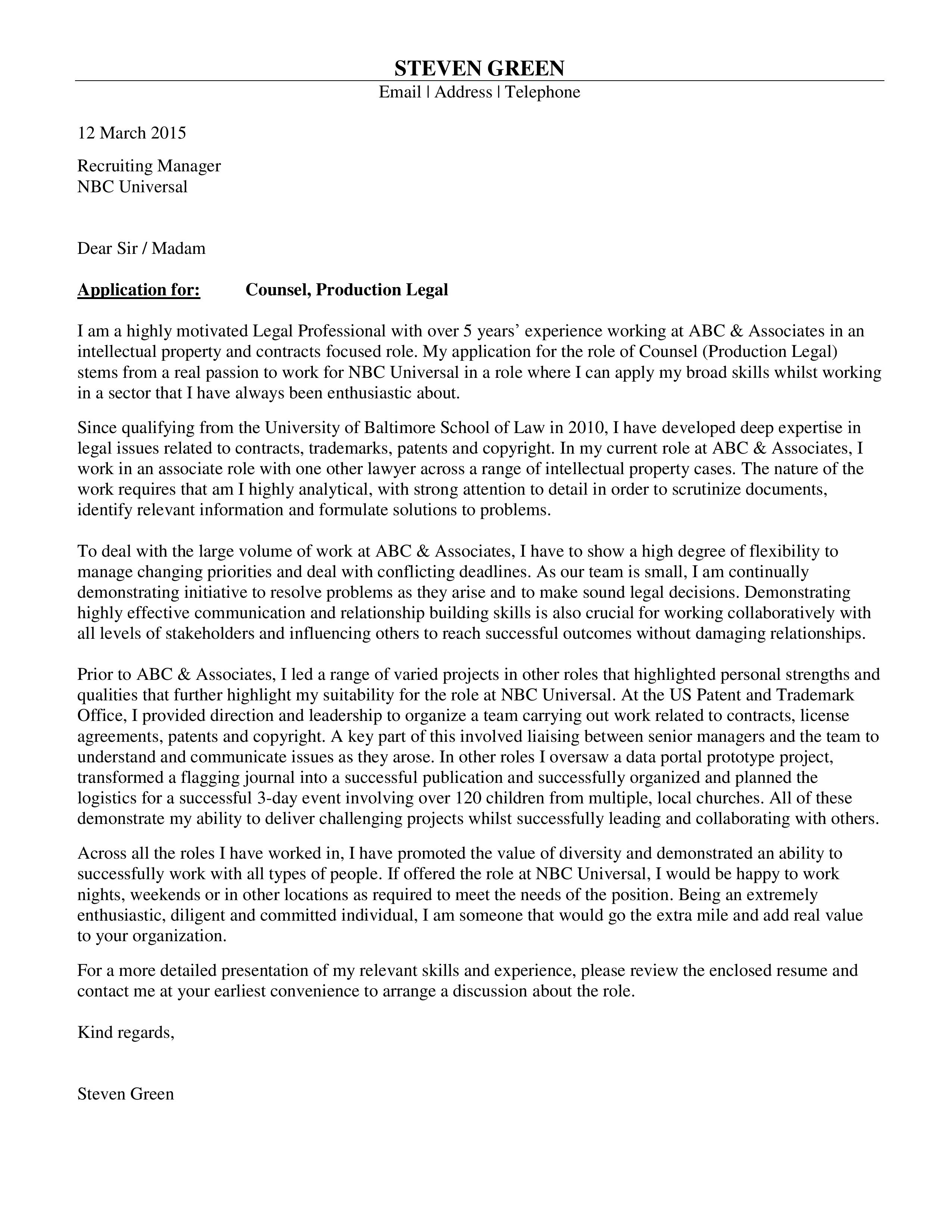 Consulting Cover Letter Harvard On